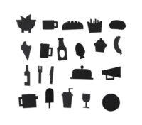 Nahrungsmittelsymbolsatz - für Lochblech Black Design Letters