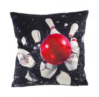 Toiletpaper cushion - Bowling - 50 x 50 cm Multicolor | Black Seletti Maurizio Cattelan | Pierpaolo Ferrari