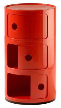 Mobile contenitore Componibili / 3 cassetti Rosso Kartell Anna Castelli Ferrieri 1