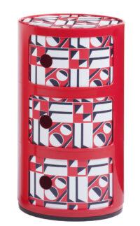 Mobile contenitore Componibili La Double J - / 3 cassetti - H 58 cm Rosso|Geometrico rosso Kartell Anna Castelli Ferrieri 1