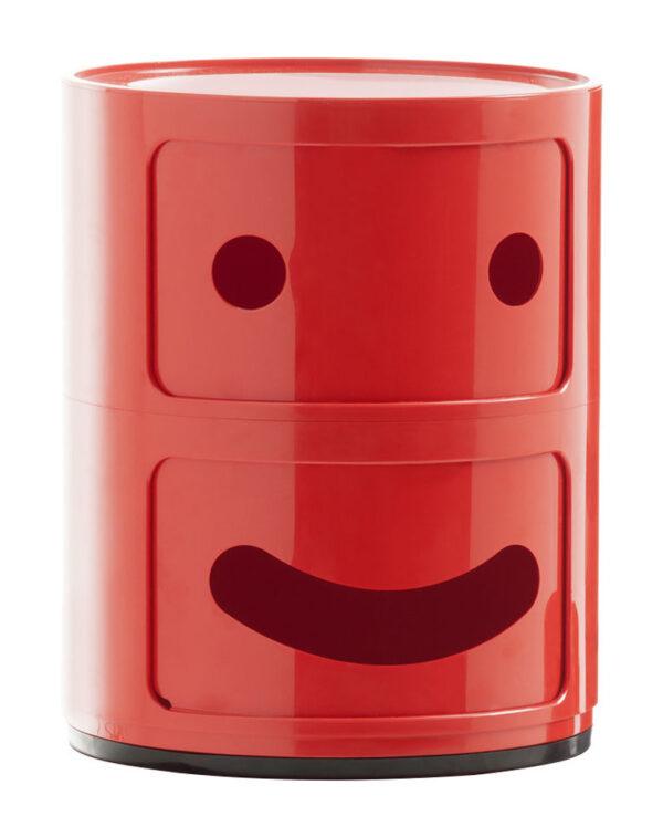 Smile Μονάδα αποθήκευσης Componibili Αρ. 1 / 2 συρτάρια Red Kartell Anna Castelli Ferrieri   Fabio Novembre 1