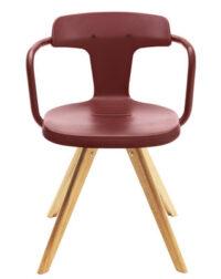 Armchair T14 / natural wood Legs Red ocher Tolix Patrick Norguet 1
