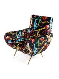 Καρέκλα για ταπετσαρίες - Πολύχρωμα φίδια | Seletti Black Maurizio Cattelan | Pierpaolo Ferrari