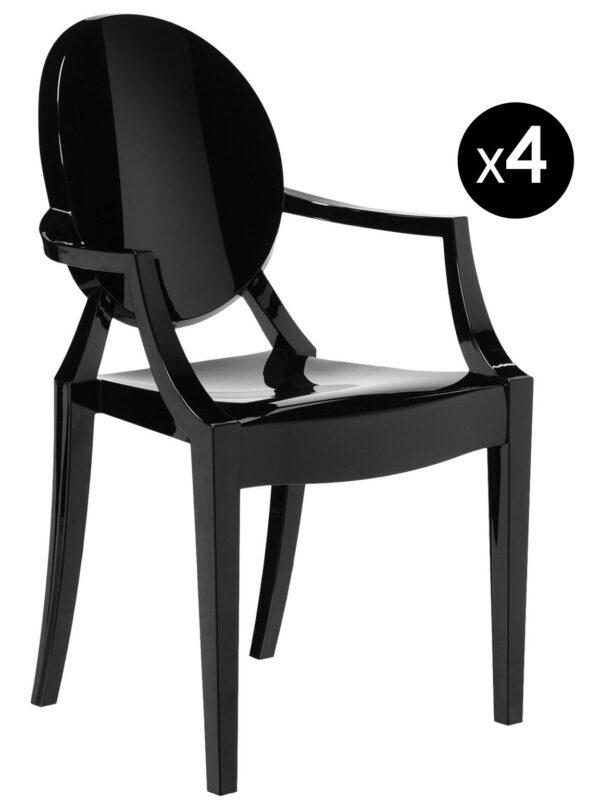 Louis Ghost stackable armchair - Set of 4 matt black Kartell Philippe Starck 1