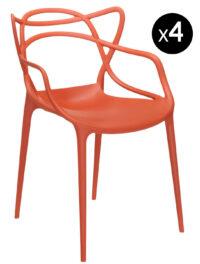 Poltrona impilabile Masters - Lotto da 4 Arancio ruggine Kartell Philippe Starck|Eugeni Quitllet 1