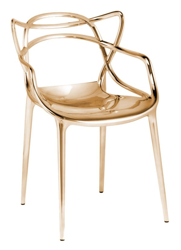 Masters stackable armchair - Metallic Gold Kartell Philippe Starck   Eugeni Quitllet 1