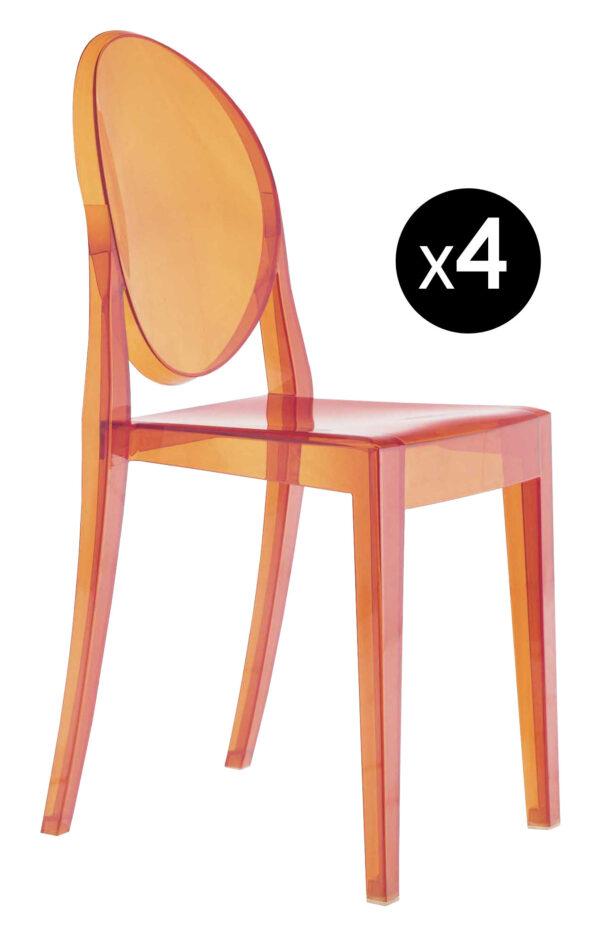 Stapelbarer Stuhl Victoria Ghost - 4er-Set Orange Kartell Philippe Starck 1
