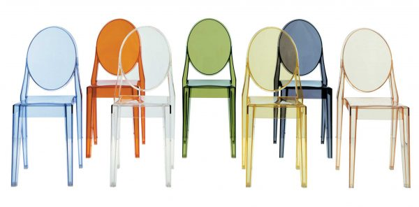 Victoria Ghost stackable chair - Set of 4 Light Blue Kartell Philippe Starck 2