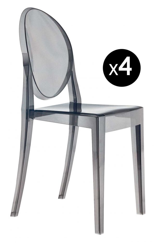 Victoria Ghost stackable chair - Σετ 4 Fumé Kartell Philippe Starck 1