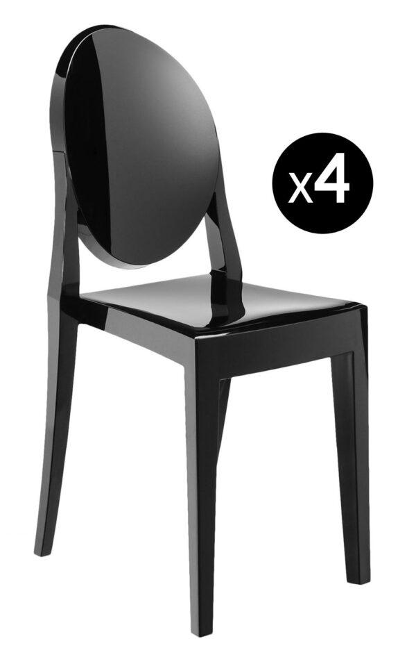 Victoria Ghost stackable chair - Σετ 4 ματ μαύρο Kartell Philippe Starck 1