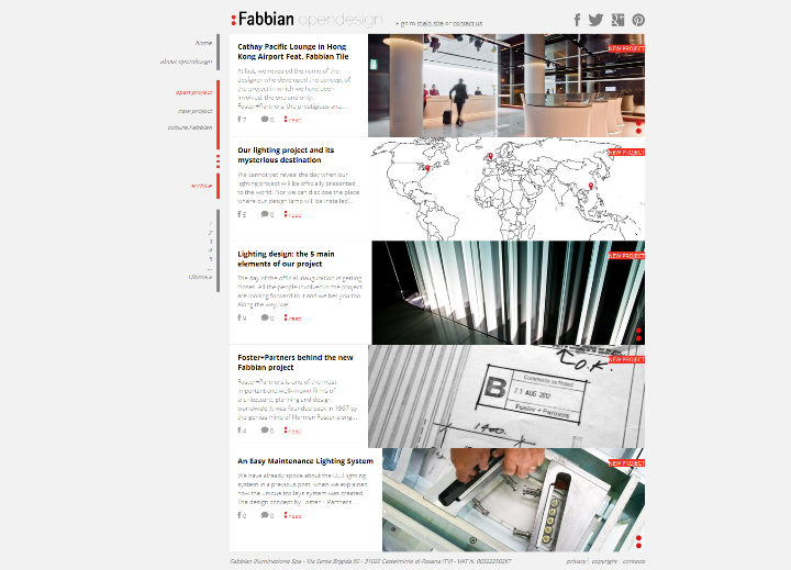 Projet d'éclairage Opendesign par Fabbian