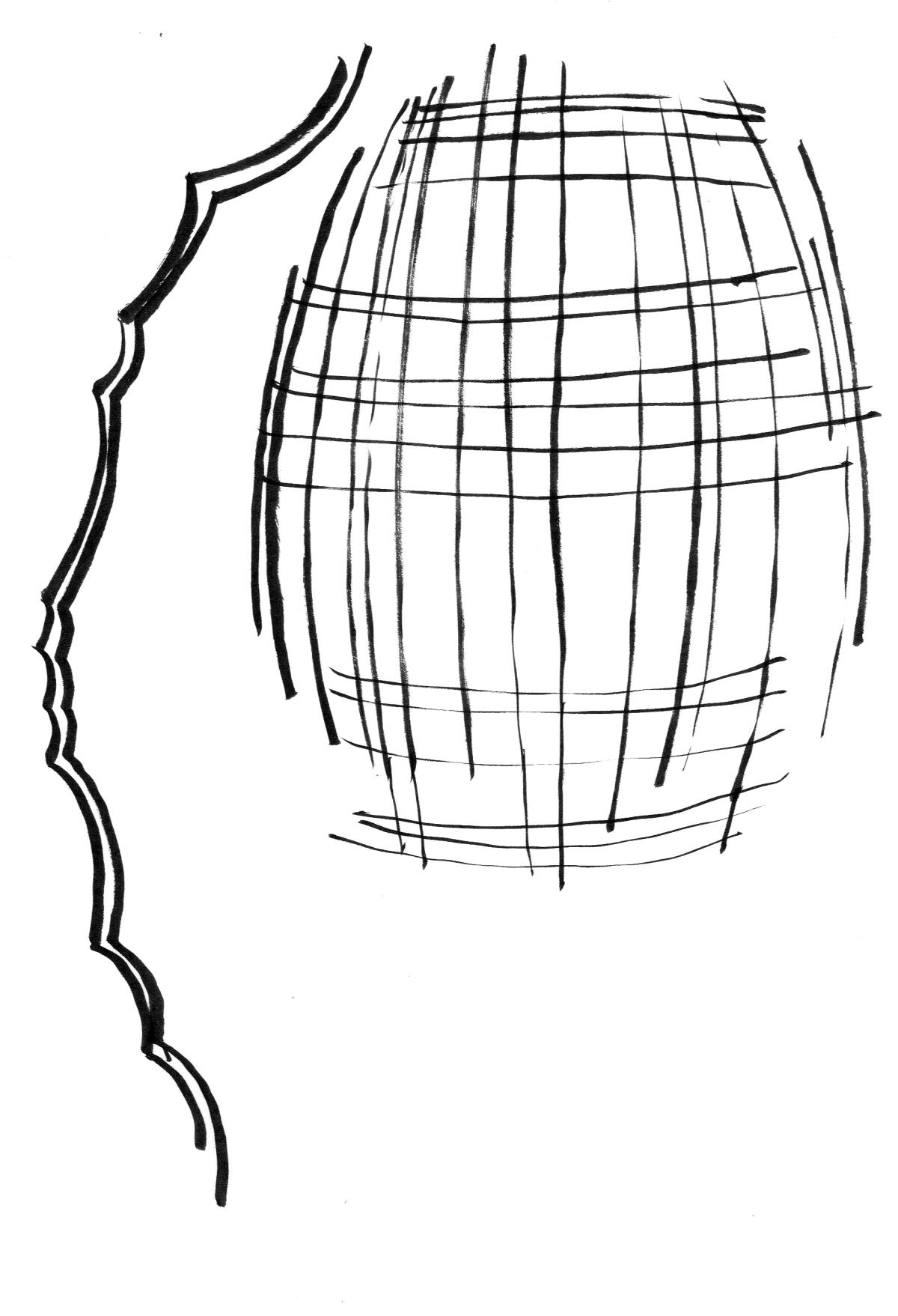 Tartan lamp in blown glass sketch