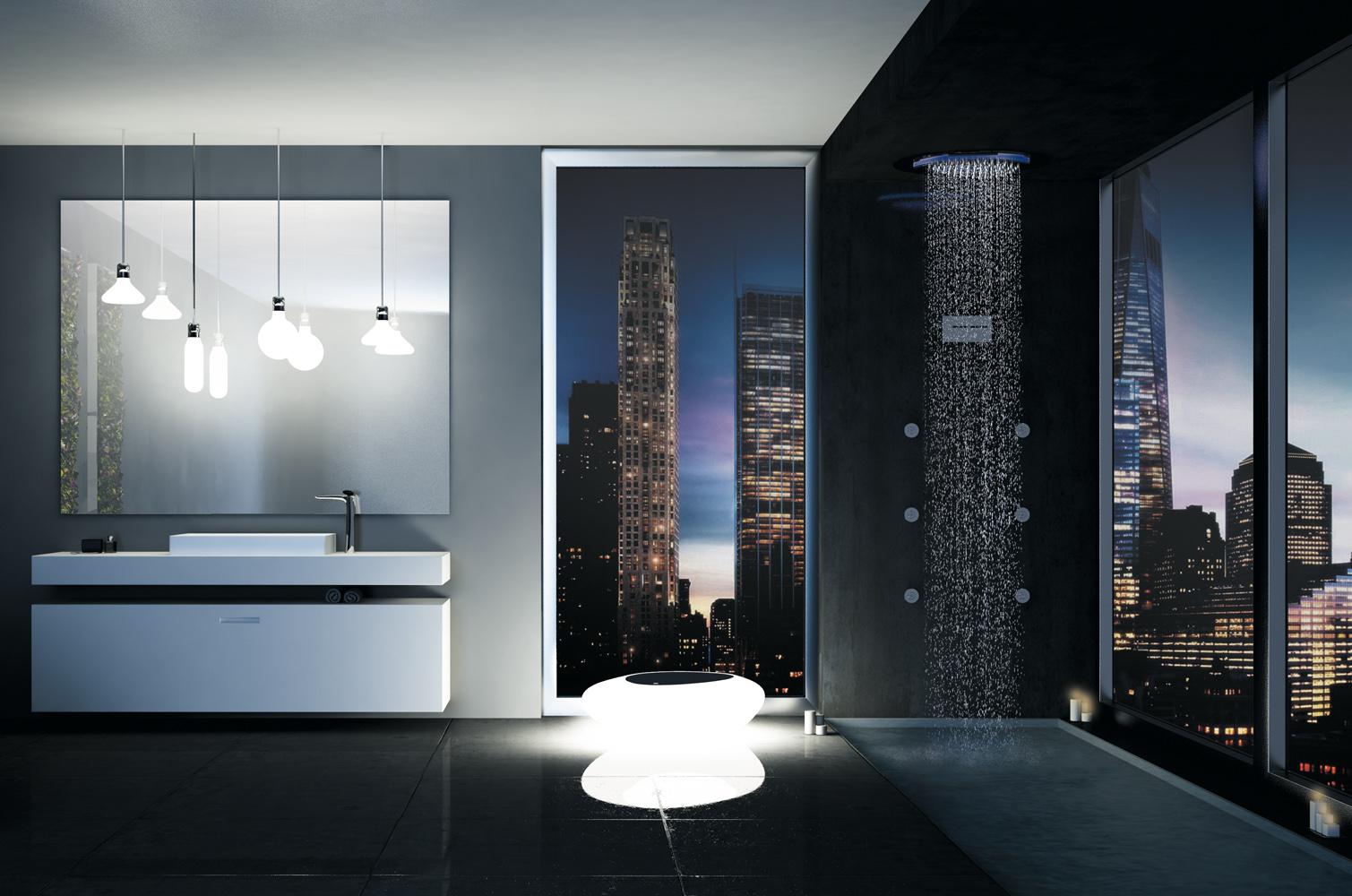 Configuration de Synergy douche avec plafond multifonction de douche