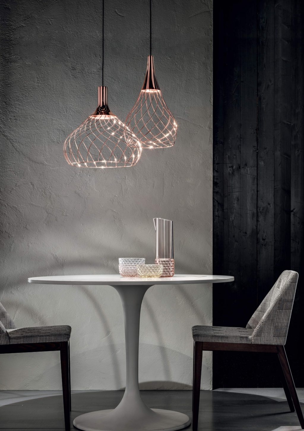 Suspended chandelier Mongolfier Linea Light Group copper, family