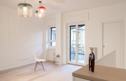 Weiß und Inspiration für skandinavisches Design, Plus Ultra Studio, Duplex Umwandlung Milano