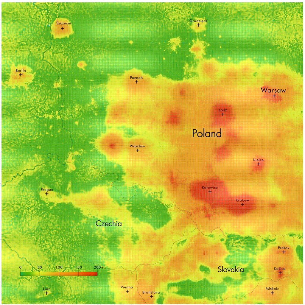 Diagram Air Quality Index PM2.5 Concentration Poland 2021